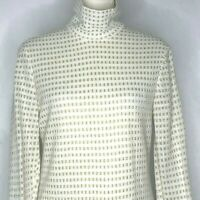 Vintage Knit Sweater Dress M White Gold Turtle Neck Long Sleeve A Line Zipper
