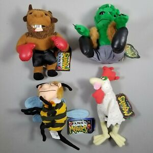 Lot of (4) Vtg 1998-1999 Idea Factory INFAMOUS MEANIES Frankenbear Mike Bison
