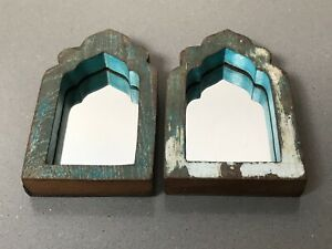 VINTAGE INDIAN MUGHAL ARCHED TEMPLE MIRRORS, SMALL PAIR. GREEN, TURQUOISE, WHITE