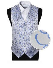 "Men's Silver Blue Scroll Wedding Groom Ascot Waistcoat - Size 46"" / EU56 / 3XL"
