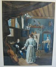 "Superb Large 19th C. Dutch Watercolor ""IN THE ARTIST'S STUDIO""  c. 1870  antique"