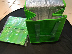 Qty 2 NEW INSULATED REUSABLE GROCERY BAG GREEN Thermal Zipper Shopping Tote