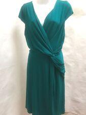 Ann Taylor 12 Dress Green Pleated V Neck Draped Empire Waist Cap Sleeve