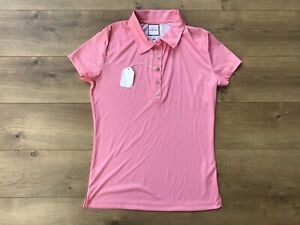 Catherine Wingate Short Sleeve Gold Button Up Golf Polo Pink Women's SZ Small