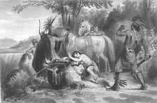 Virginia INDIAN POCAHONTAS & PRISONER JOHN SMITH ~ Old 1855 Art Print Engraving
