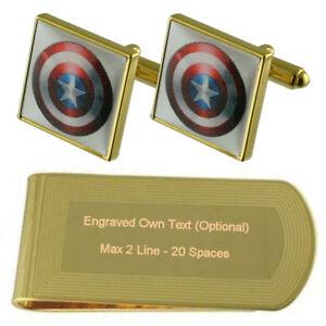 Captain America Hero Gold-Tone Cufflinks Money Clip Engraved Gift Set