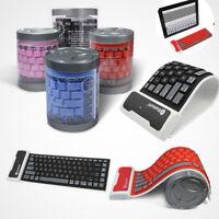 Foldable Wireless Bluetooth Silicone Waterproof Flexible Keyboard For PC Laptop
