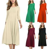 Women Ladies Long Sleeve Shirt Long Maxi Dress Casual  Skater Midi Dress