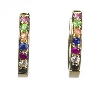 Tiny Huggie Earrings,Diamond & Multi Color Gem Stones in 14k Gold 1.05 Gr D 0.03