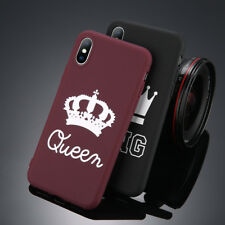 Soft Crown KING QUEEN Letter Phone Case For iPhone XS Max XR 8 7 6S Couples Case