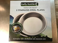"""(2) Kelly Kettle Stainless Steel Plates Indoor Outdoor 7.75"""" x 1.18"""" Brand New"""
