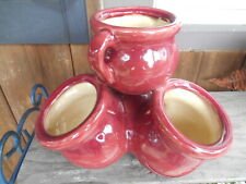 New listing Early Vtg McCoy? Art Pottery Strawberry Pot-Cased Yellow/Burgundy Unmarked Euc