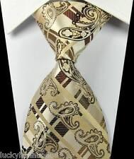 New Paisleys Stripes Beige Brown JACQUARD WOVEN 100% Silk Men's Tie Necktie