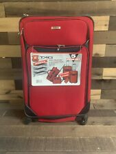 Tag Springfield LII 5 Pcs Red Lightweight Spinner Luggage Set of 3