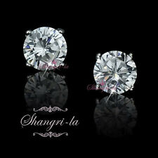 9K 9CT White GOLD GF Wedding STUD EARRINGS 2.0CT Genuine SWAROVSKI Diamond ES111