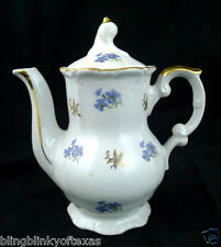 Tea Pot white with blue flowers vintage