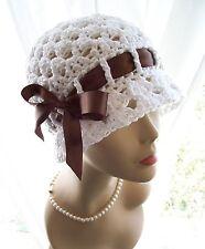 New White Handmade 1920s Cotton Flapper Cloche Sun Hat