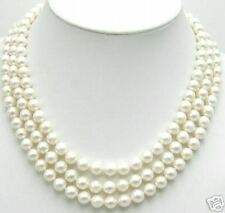 SALE AAA 8-9mm Natural White Freshwater Pearl  3 strands Necklace-5348 Free ship
