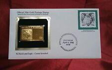 Antigua & Barbuda FDC 24kt Gold Stamp: $6 Shield & Eagle-center inverted. 1986
