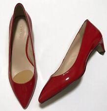 Nine West Fanesa Women Red Patent Leather Pumps Kitten Heels 10 Medium