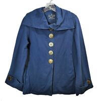 Neon Buddha Blue Jacket Button Down Long Sleeve Collared Womens Size X-Small XS