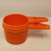 Vintage Tupperware Measuring Cups Lot of 2 Bright Orange 3/4 Cup and 2/3 Cup