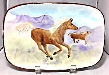 Wild horses galloping Hand painting on a rectangular porcelain plate