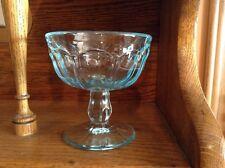 4 vintage light turquoise glass ice cream sherbert pudding pedestal cups