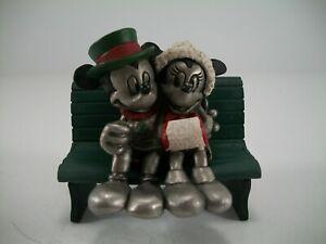 1988 Hudson Disney Fine Pewter #4307 Mickey & Minnie Christmas with Bench