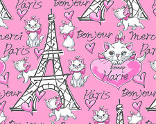 FAT QUARTER  DISNEY ARISTOCATS MARIE MERCI PARIS BONJOUR COTTON FABRIC KITTY  FQ