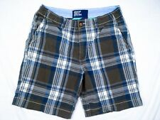 American Eagle Outfitters Mens Plaid Shorts Gray Blue White Size 36