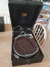 Vintage Antique Portable HMV HIS MASTER'S VOICE Gramophone Model 102 DELUXE VGC