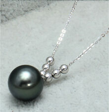 "Fine 18K White Gold 16"" Chain AAA 9-10mm Black Tahitian Pearl Pendant Necklace"