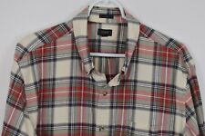 J CREW XL Plaid Cotton Long Sleeve Shirt Button Down Oxford Slim Red Cream Taupe