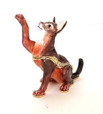 Zulu Abyssinian Cat Trinket / Jewelry Box Pewter Bejeweled Kingspoint