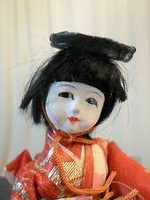Vintage Japanese Gofun Girl Colorful Kimono Obi Drum Hat Stand Cloth Doll