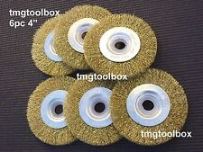 6 PC 4'' FLAT WIRE  WHEEL BRUSH, CRIMPED 5/8''& 7/8'' BORE BENCH/ANGLE GRINDER