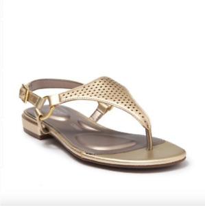 Rockport Zosia Thong Flat Sandal shoes Gold Sizes 6 6.5