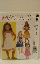 McCall's 5569 NEW Girls Size 6-7-8 Sleeveless Sun Dresses with Sash Uncut FF