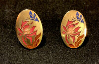 Vintage Colorful Cloisonne Enamel Butterfly Flower Clip On Earrings Goldtone