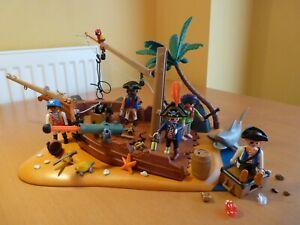 Playmobil Pirate Ship Wreck Crew Treasure Island Shark Cannon Playset 4136 Extra