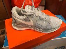 """New Womens 5 NIKE """"LunarFlash"""" Platinum Gray White Running Shoes $100"""