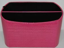 Leather Desk Stationary Organizer Pink Leather Tuscan Designs