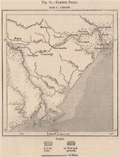 Zambezi Delta, Marromeu National Reserve & Quelimane. Mozambique 1885 old map