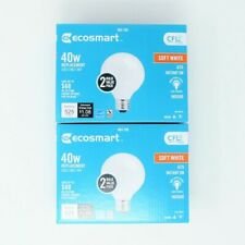 EcoSmart (2) 2 Pack 40W Replacement G25 Soft White 2700K 9w CFL Fluorescent Bulb