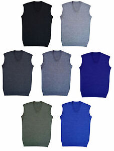 New Boys Girls Knitted Sleeveless V Neck Tank Top Kids School Vest Uniform