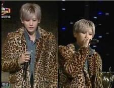 Mens Fur Leopard Pattern Winter Lapel Collar Slim Mid Long Jacket Outwear Coat @