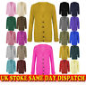Womens Ladies Chunky Cable Knit Cardigan Button Long Grandad Sleeves Plus Sizes