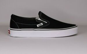 Vans Slip-On Black/White Canvas Classic Shoes All Size Fast Shipping