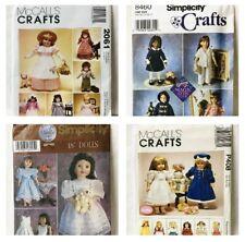 "Lot of 4 18"" Doll Patterns Gotz McCalls Simplicity New Uncut P408 5428 8460 2061"